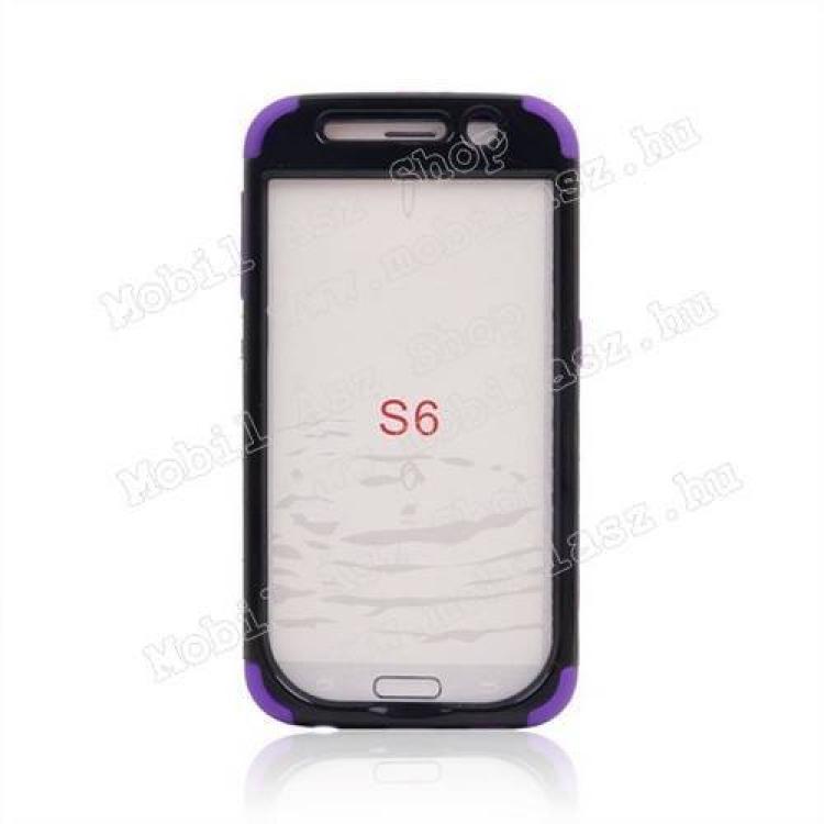 Műanyag védő tok / hátlap - szilikon betétes - ERŐS VÉDELEM! - FEKETE / LILA - SAMSUNG SM-G920 Galaxy S6