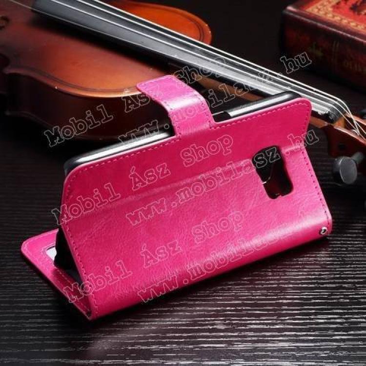 CRAZY notesz tok / flip tok - asztali tartó funkciós, oldalra nyíló, rejtett mágneses záródás, bankkártyatartó zseb - RÓZSASZÍN - SAMSUNG SM-G920 Galaxy S6