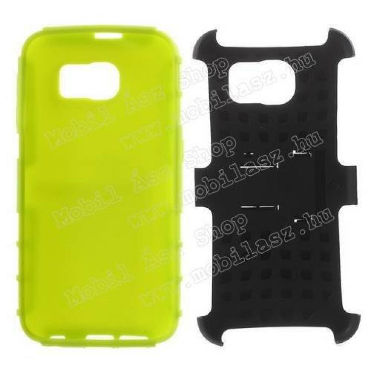 OTT! műanyag védő tok / hátlap - 3D KOCKA MINTÁS - szilikon betétes, asztali tartó funkciós, ERŐS VÉDELEM! - FEKETE / ZÖLD - SAMSUNG SM-G920 Galaxy S6