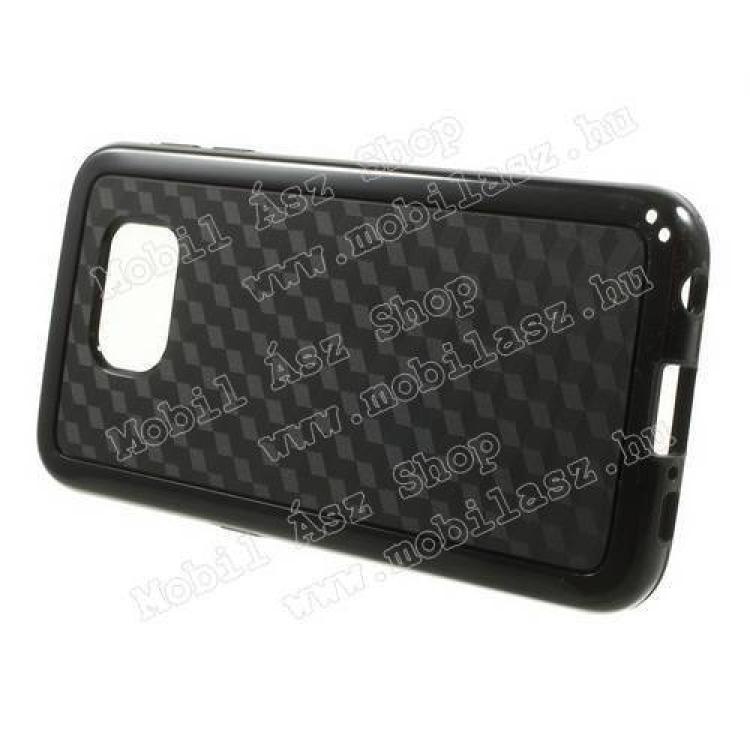 Műanyag védő tok / hátlap - 3D KOCKA mintás - szilikon szegély - FEKETE - SAMSUNG SM-G920 Galaxy S6