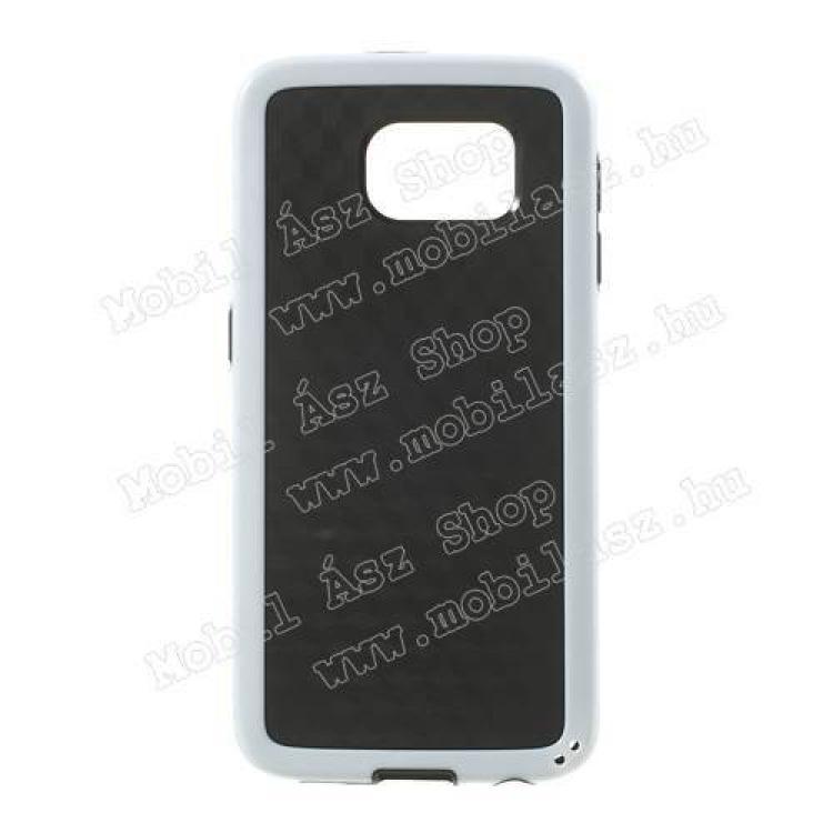 SAMSUNG Galaxy S6 (SM-G920)Műanyag védő tok  hátlap - 3D KOCKA mintás - szilikon szegély - FEKETE  FEHÉR - SAMSUNG SM-G920 Galaxy S6
