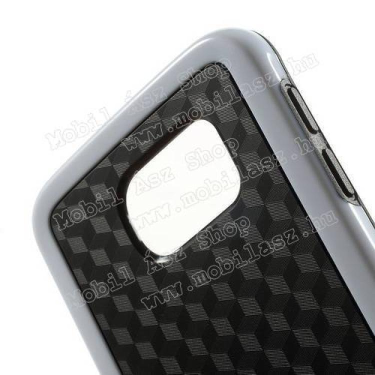 Műanyag védő tok / hátlap - 3D KOCKA mintás - szilikon szegély - FEKETE / FEHÉR - SAMSUNG SM-G920 Galaxy S6