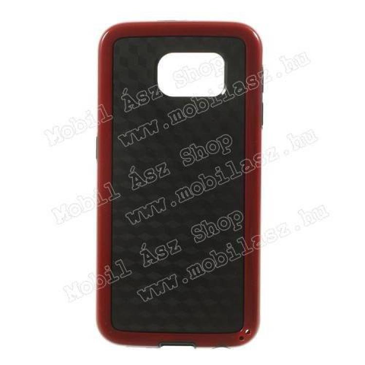 SAMSUNG Galaxy S6 (SM-G920)Műanyag védő tok  hátlap - 3D KOCKA mintás - szilikon szegély - FEKETE  PIROS - SAMSUNG SM-G920 Galaxy S6