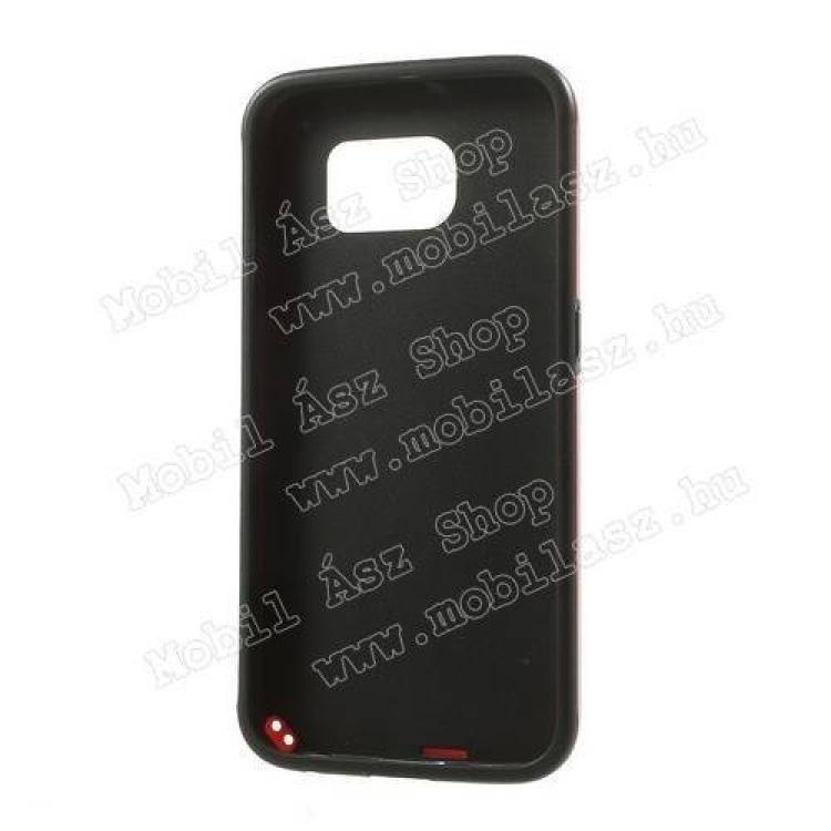 Műanyag védő tok / hátlap - 3D KOCKA mintás - szilikon szegély - FEKETE / PIROS - SAMSUNG SM-G920 Galaxy S6
