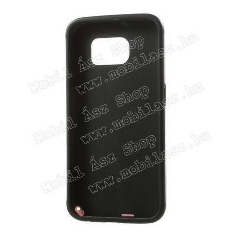 Műanyag védő tok / hátlap - 3D KOCKA mintás - szilikon szegély - FEKETE / RÓZSASZÍN - SAMSUNG SM-G920 Galaxy S6