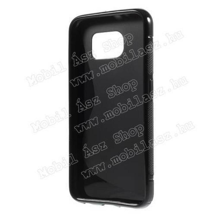 Szilikon védő tok / hátlap - FÉNYES/MATT - FEKETE - SAMSUNG SM-G920 Galaxy S6