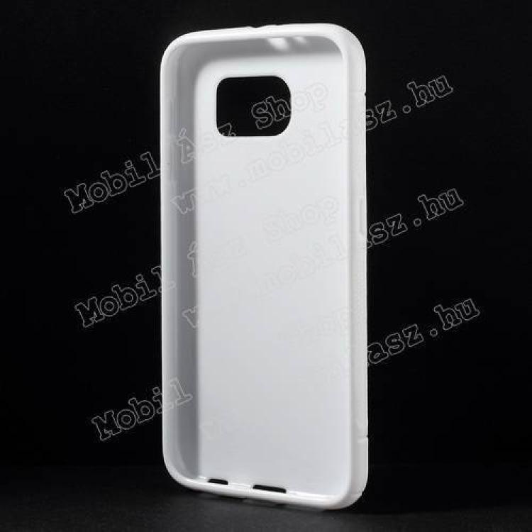 Szilikon védő tok / hátlap - FÉNYES/MATT - FEHÉR - SAMSUNG SM-G920 Galaxy S6