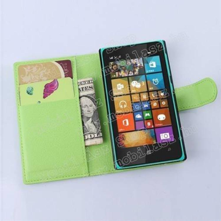 MICROSOFT Lumia 435 Dual SIMNotesz tok  flip tok - asztali tartó funkciós, oldalra nyíló, rejtett mágneses záródás, bankkártyatartó zseb - ZÖLD - MICROSOFT Lumia 435  Lumia 435 Dual SIM