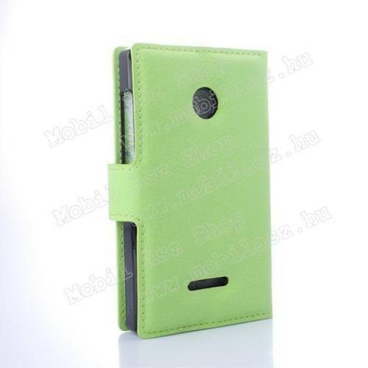 Notesz tok / flip tok - asztali tartó funkciós, oldalra nyíló, rejtett mágneses záródás, bankkártyatartó zseb - ZÖLD - MICROSOFT Lumia 435 / Lumia 435 Dual SIM