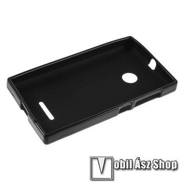 Szilikon védő tok / hátlap - FLEXI - FEKETE - MICROSOFT Lumia 435 / Lumia 435 Dual SIM / Lumia 532 / Lumia 532 Dual SIM