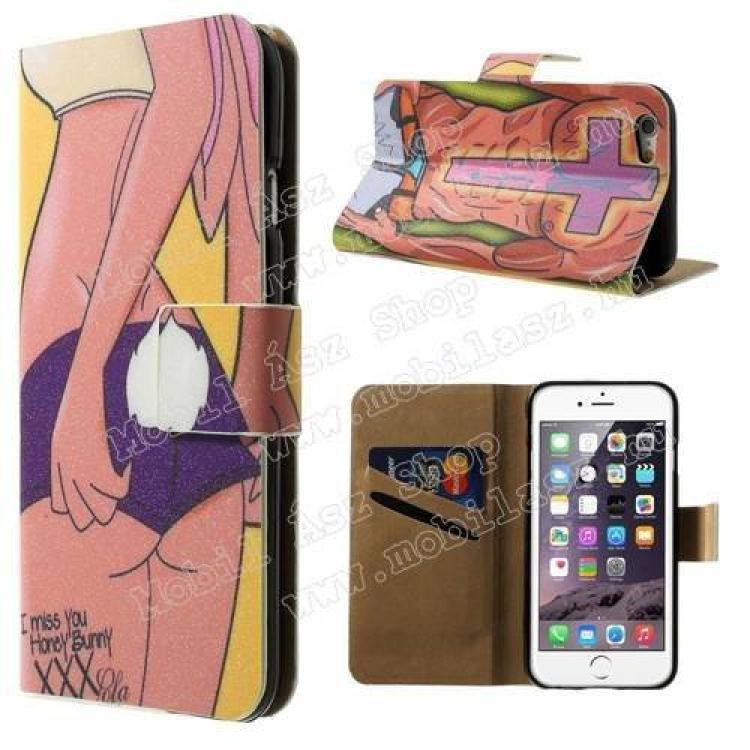 APPLE iPhone 6sNotesz tok  flip tok - SZEXI LÁNY 2 - asztali tartó funkciós, oldalra nyíló, rejtett mágneses záródás, bankkártyatartó zseb - APPLE iPhone 6