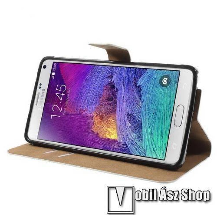 Notesz tok / flip tok - SZEXI LÁNYOK - asztali tartó funkciós, oldalra nyíló, rejtett mágneses záródás, bankkártyatartó zseb - SAMSUNG SM-N910C Galaxy Note 4.