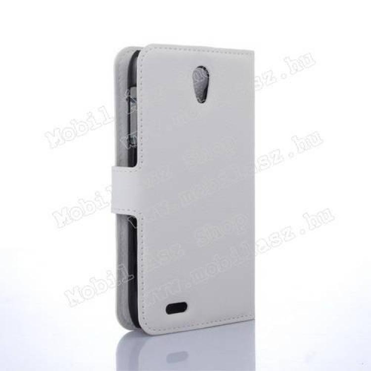 WALLET notesz tok / flip tok - FEHÉR - asztali tartó funkciós, oldalra nyíló, rejtett mágneses záródás, bankkártyatartó zseb - Lenovo A319