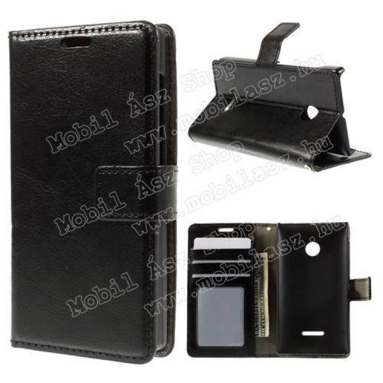 MICROSOFT Lumia 435 Dual SIMCRAZY notesz tok  flip tok - FEKETE - asztali tartó funkciós, oldalra nyíló, rejtett mágneses záródás, bankkártyatartó zseb - MICROSOFT Lumia 435  Lumia 435 Dual SIM