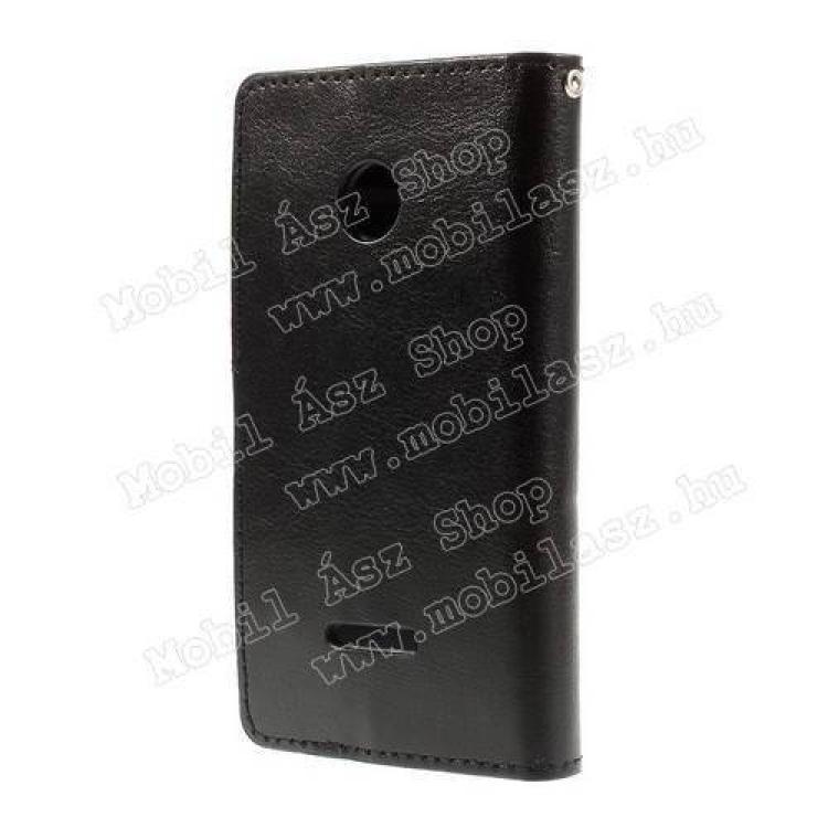 CRAZY notesz tok / flip tok - FEKETE - asztali tartó funkciós, oldalra nyíló, rejtett mágneses záródás, bankkártyatartó zseb - MICROSOFT Lumia 435 / Lumia 435 Dual SIM