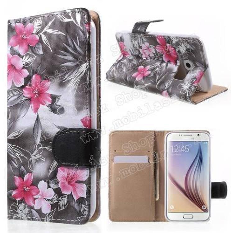 SAMSUNG Galaxy S6 (SM-G920)Notesz tok  flip tok - VIRÁG MINTÁS - oldalra nyíló, asztali tartó funkciós, rejtett mágneses záródás, bankkártya tartó zseb, szilikon belső - SZÜRKE - SAMSUNG SM-G920 Galaxy S6