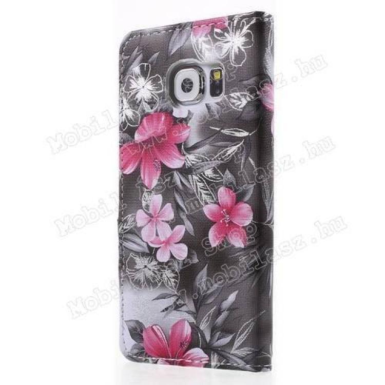 Notesz tok / flip tok - VIRÁG MINTÁS - oldalra nyíló, asztali tartó funkciós, rejtett mágneses záródás, bankkártya tartó zseb, szilikon belső - SZÜRKE - SAMSUNG SM-G920 Galaxy S6