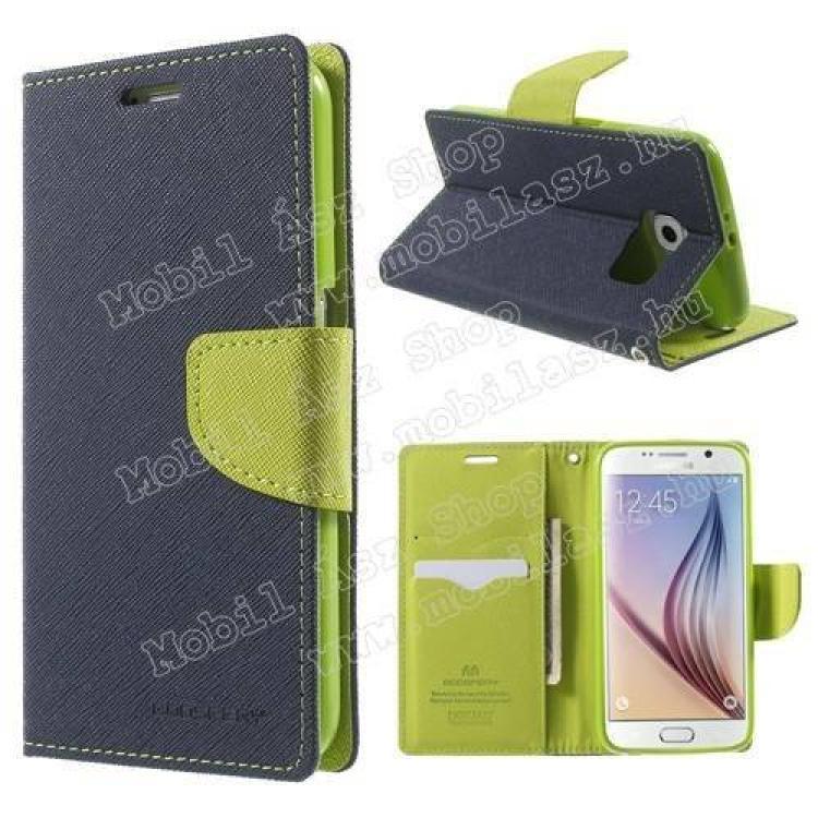 SAMSUNG Galaxy S6 (SM-G920)Mercury notesz tok  flip tok - asztali tartó funkciós, oldalra nyíló, rejtett mágneses záródás, bankkártya tartó zsebekkel, szilikonos belső - SÖTÉTKÉK  ZÖLD - SAMSUNG SM-G920 Galaxy S6