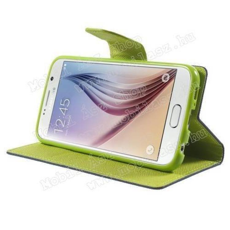 Mercury notesz tok / flip tok - asztali tartó funkciós, oldalra nyíló, rejtett mágneses záródás, bankkártya tartó zsebekkel, szilikonos belső - SÖTÉTKÉK / ZÖLD - SAMSUNG SM-G920 Galaxy S6
