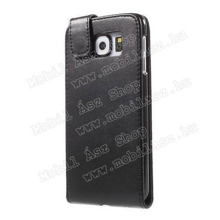 FLIP tok - FEKETE - lefelé nyíló, rejtett mágneses záródás - SAMSUNG SM-G920 Galaxy S6
