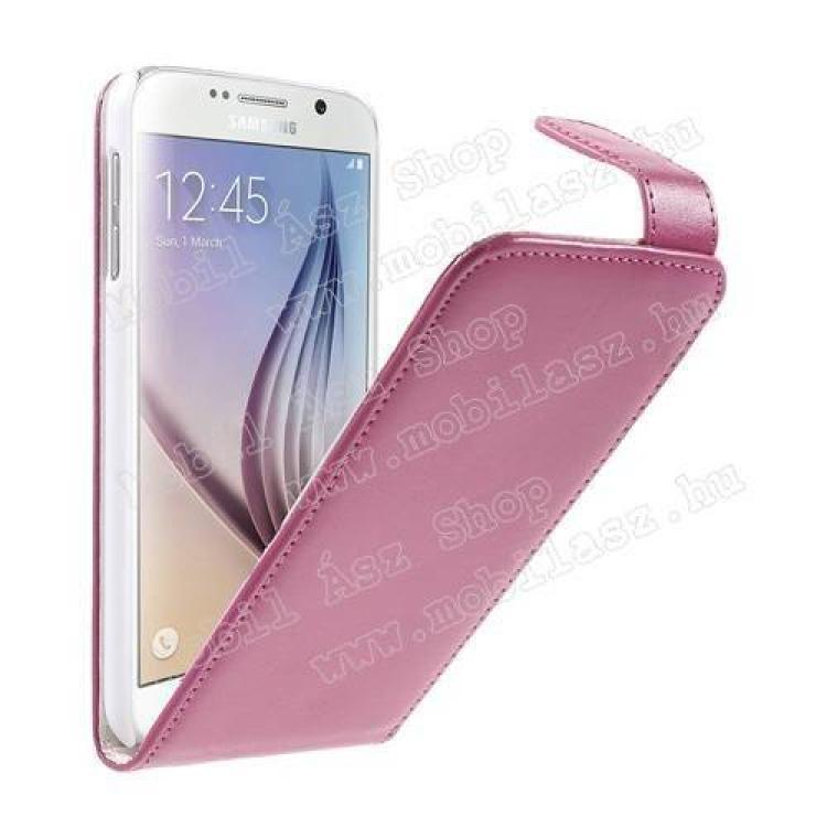 SAMSUNG Galaxy S6 (SM-G920)FLIP tok - MAGENTA - lefelé nyíló, rejtett mágneses záródás - SAMSUNG SM-G920 Galaxy S6