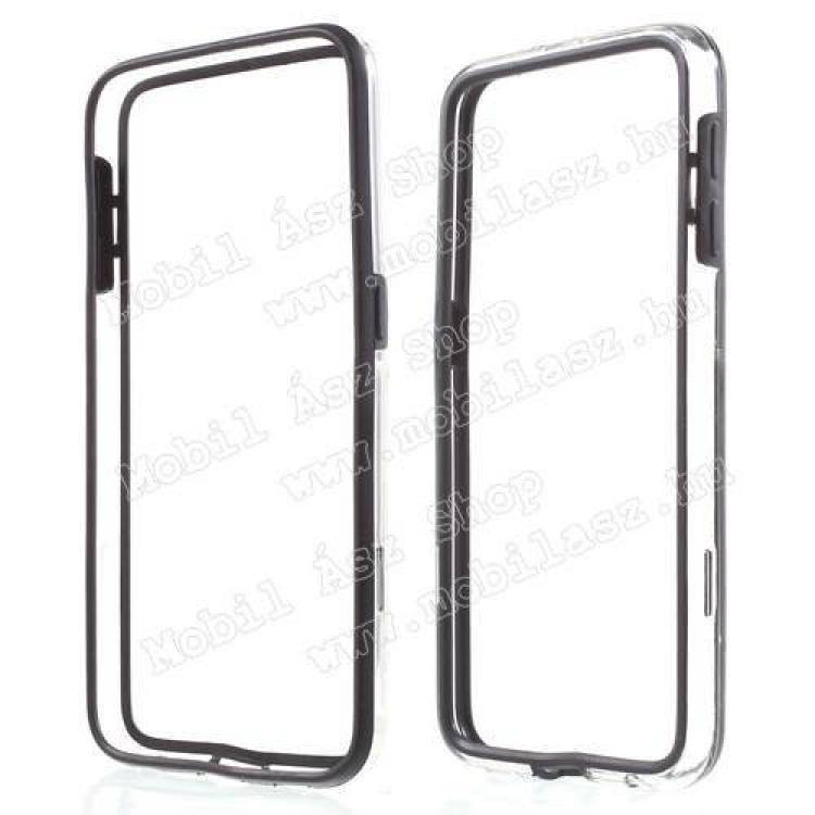 SAMSUNG Galaxy S6 (SM-G920)Szilikon védő keret - BUMPER - FEKETE  ÁTLÁTSZÓ - SAMSUNG SM-G920 Galaxy S6