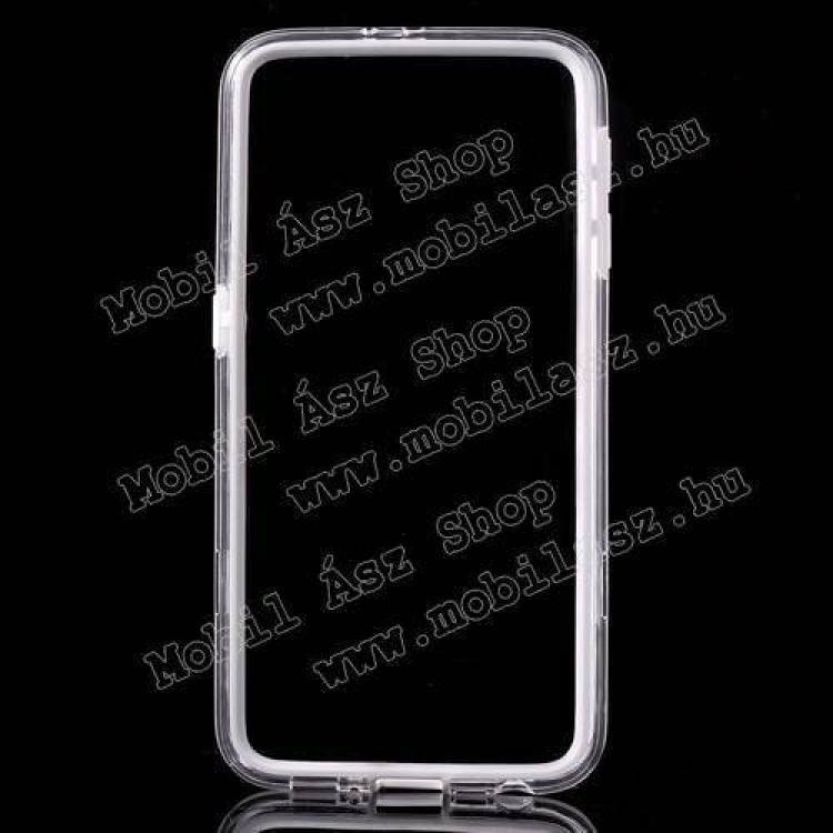 Szilikon védő keret - BUMPER - FEHÉR / ÁTLÁTSZÓ - SAMSUNG SM-G920 Galaxy S6