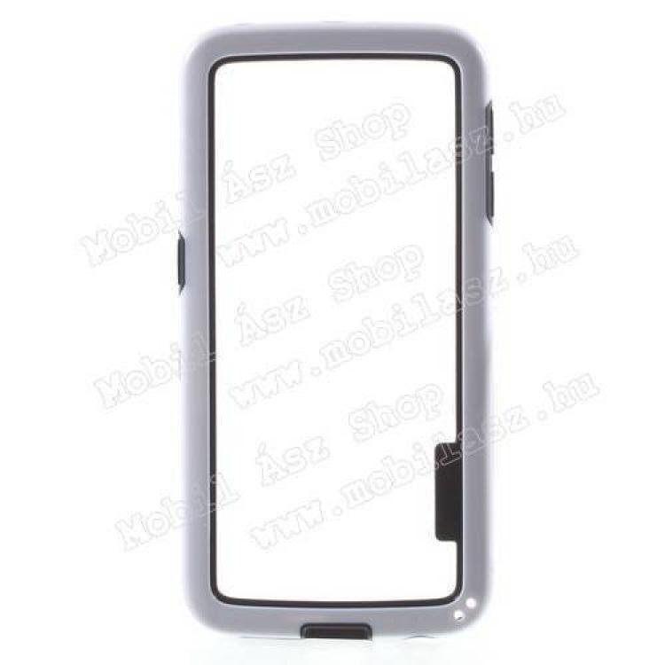 Szilikon védő keret - BUMPER - FEHÉR / FEKETE - SAMSUNG SM-G925F Galaxy S6 Edge