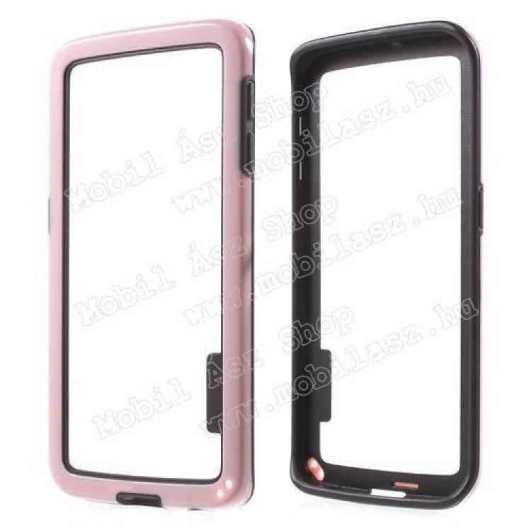 SAMSUNG Galaxy S6 Edge (SM-G925F)Szilikon védő keret - BUMPER - RÓZSASZÍN  FEKETE - SAMSUNG SM-G925F Galaxy S6 Edge