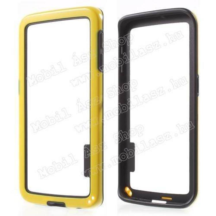 SAMSUNG Galaxy S6 Edge (SM-G925F)Szilikon védő keret - BUMPER - SÁRGA  FEKETE - SAMSUNG SM-G925F Galaxy S6 Edge