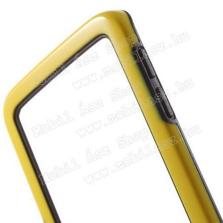 Szilikon védő keret - BUMPER - SÁRGA / FEKETE - SAMSUNG SM-G925F Galaxy S6 Edge