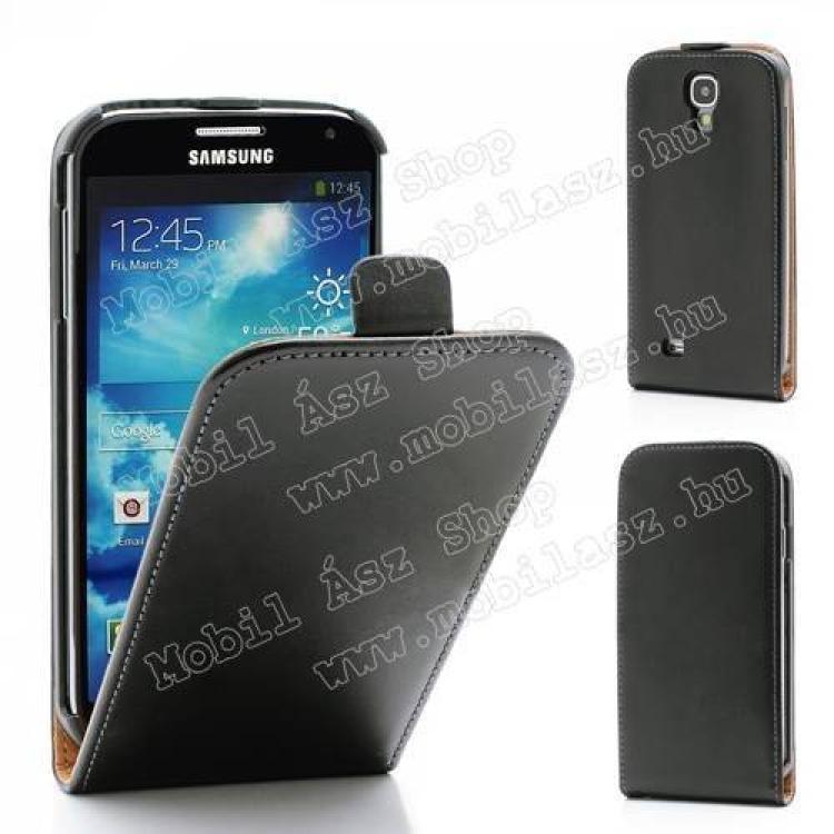 SAMSUNG Galaxy S IV. VE (GT-I9515)SLIM FLIP tok - lefelé nyíló, rejtett mágneses záródás - FEKETE - SAMSUNG GT-I9500  I9502  I9505 Galaxy S IV.