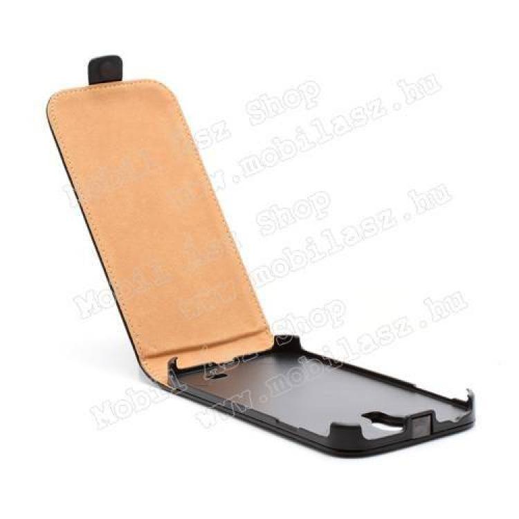 SLIM FLIP tok - lefelé nyíló, rejtett mágneses záródás - FEKETE - SAMSUNG GT-I9500 / I9502 / I9505 Galaxy S IV.