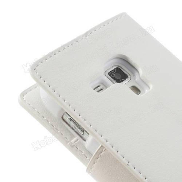Mercury notesz tok/ flip tok - asztali tartó funkciós, oldalra nyíló, rejtett mágneses záródás, bankkártya tartó zsebekkel - FEHÉR - SAMSUNG GT-S7560 Galaxy Trend / SAMSUNG GT-S7562 Galaxy S Duos / SAMSUNG GT-S7582 Galaxy Trend Plus