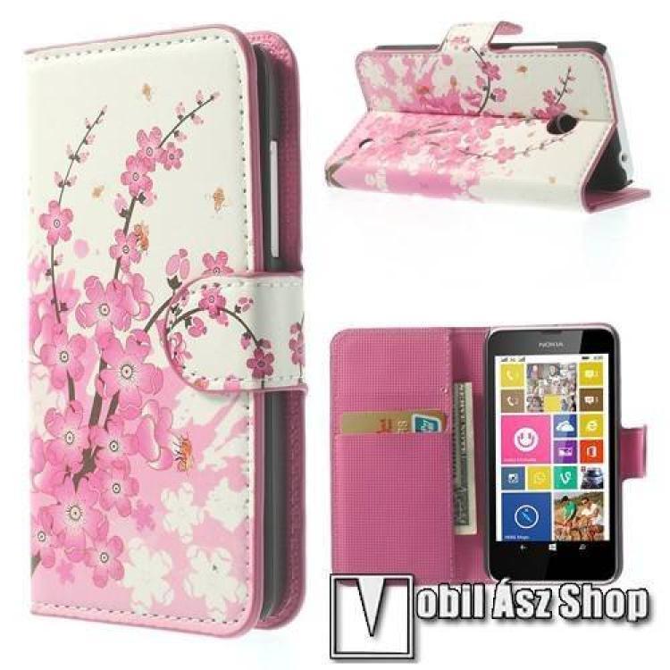NOKIA Lumia 630 DUAL SIMNotesz tok flip tok - VIRÁG MINTÁS - asztali tartó funkciós, oldalra nyíló, rejtett mágneses záródás - FEHÉR  RÓZSASZÍN - NOKIA Lumia 630  NOKIA Lumia 635