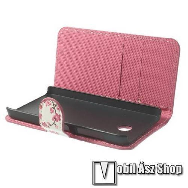 Notesz tok/ flip tok - VIRÁG MINTÁS - asztali tartó funkciós, oldalra nyíló, rejtett mágneses záródás - FEHÉR / RÓZSASZÍN - NOKIA Lumia 630 / NOKIA Lumia 635