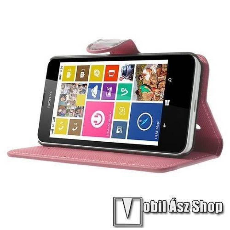 Notesz tok/ flip tok - LÓTUSZVIRÁG MINTÁS - asztali tartó funkciós, oldalra nyíló, rejtett mágneses záródás - FEHÉR - NOKIA Lumia 630 / NOKIA Lumia 635