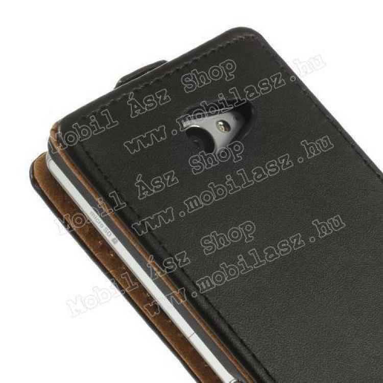 SLIM FLIP tok - FEKETE - lefelé nyíló, rejtett mágneses záródás - SONY Xperia M2 (D2305) / SONY Xperia M2 DUAL (D2302)