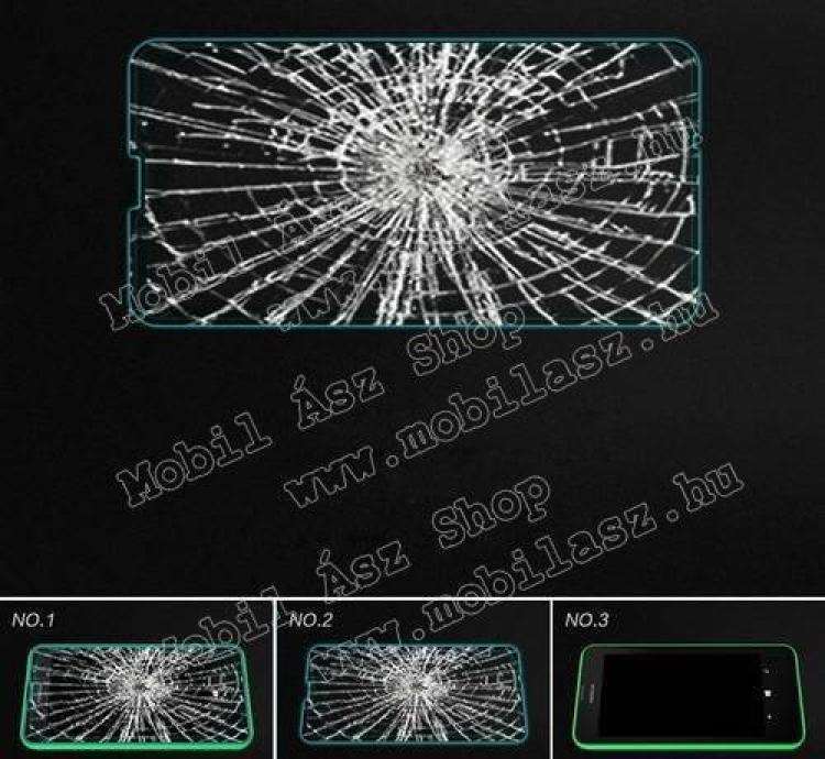 Előlap védő karcálló edzett üveg - 9H, 03 mm vastag, Arc Edge, A képernyő sík részét védi - NOKIA Lumia 630 / NOKIA Lumia 635
