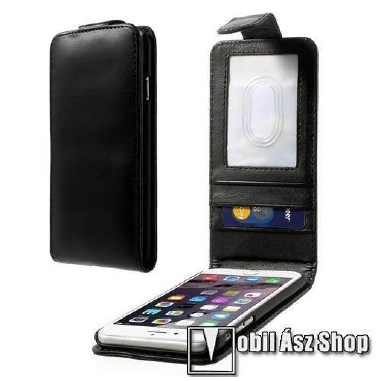 APPLE iPhone 6sFlip tok - lefelé nyíló, rejtett mágneses záródás. Bankkártya  igazolvány tartó zsebek, hátrafelé záródó - FEKETE - PRÉMIUM - APPLE iPhone 6