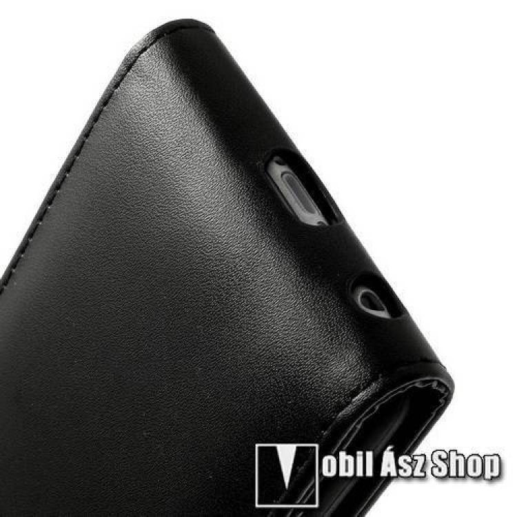 Flip tok - lefelé nyíló, rejtett mágneses záródás. Bankkártya / igazolvány tartó zsebek, hátrafelé záródó - FEKETE - PRÉMIUM - APPLE iPhone 6