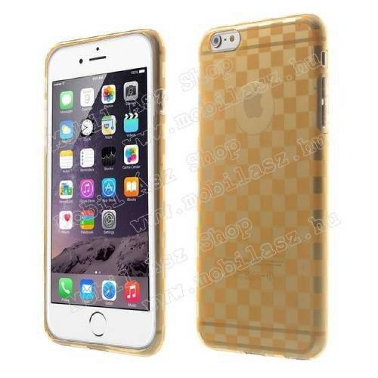 APPLE iPhone 6s PlusSzilikon védő tok  hátlap - sakktábla mintás - ÁTLÁTSZÓ  NARANCS - APPLE iPhone 6 Plus
