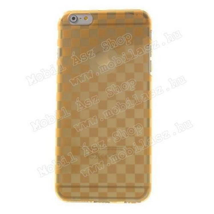 Szilikon védő tok / hátlap - sakktábla mintás - ÁTLÁTSZÓ / NARANCS - APPLE iPhone 6 Plus