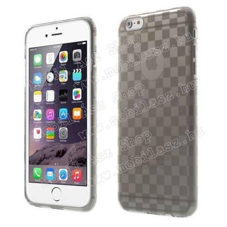 APPLE iPhone 6s PlusSzilikon védő tok  hátlap - sakktábla mintás - ÁTLÁTSZÓ  SZÜRKE - APPLE iPhone 6 Plus