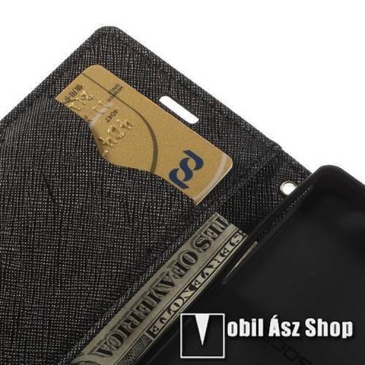 Mercury notesz tok/ flip tok - asztali tartó funkciós, oldalra nyíló, rejtett mágneses záródás, bankkártya tartó zsebekkel - FEKETE - SONY Xperia Z3 Compact (D5803)