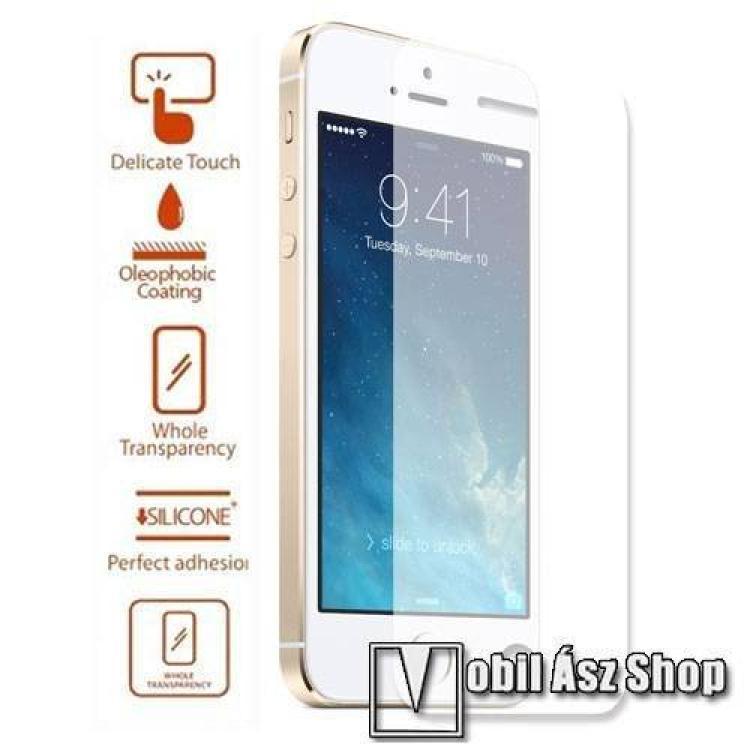 APPLE iPhone SEElőlap védő karcálló edzett üveg - 0,3 mm vékony, 9H, A képernyő sík részét védi - APPLE iPhone 5  APPLE iPhone 5S  APPLE iPhone 5C