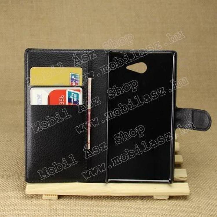 Notesz tok / flip tok - asztali tartó funkciós, oldalra nyíló, rejtett mágneses záródás - FEKETE - SONY Xperia M2 Aqua (D2403)