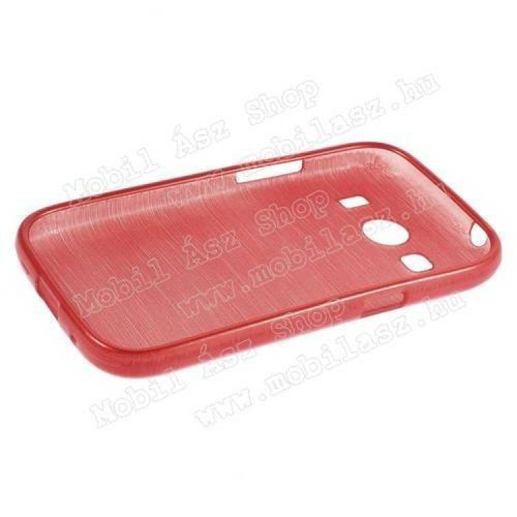 Szilikon védő tok / hátlap - szálcsiszolt mintázat - PIROS - SAMSUNG SM-G357FZ Galaxy Ace 4 LTE / SAMSUNG SM-G357FZ Galaxy Ace Style LTE