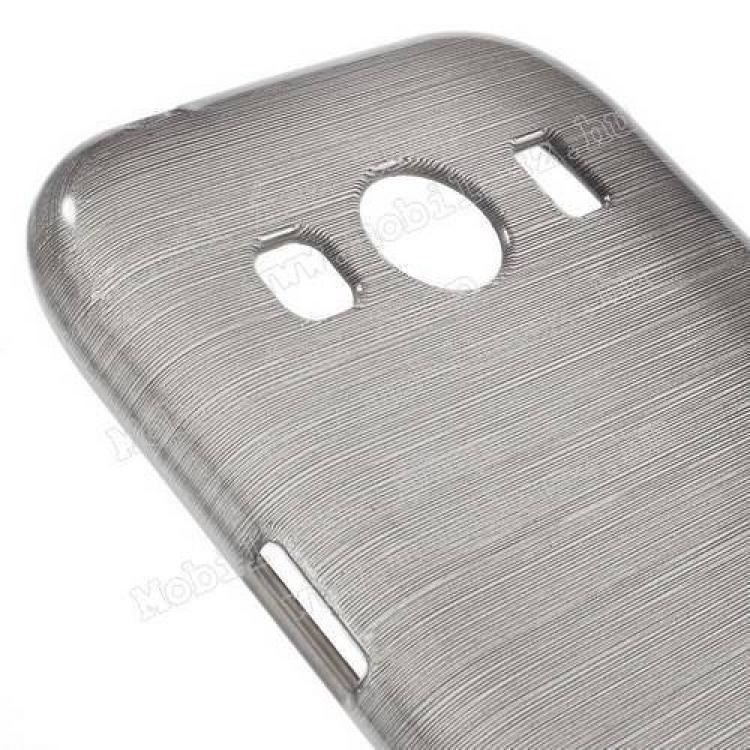 Szilikon védő tok / hátlap - szálcsiszolt mintázat - SZÜRKE - SAMSUNG SM-G357FZ Galaxy Ace 4 LTE / SAMSUNG SM-G357FZ Galaxy Ace Style LTE