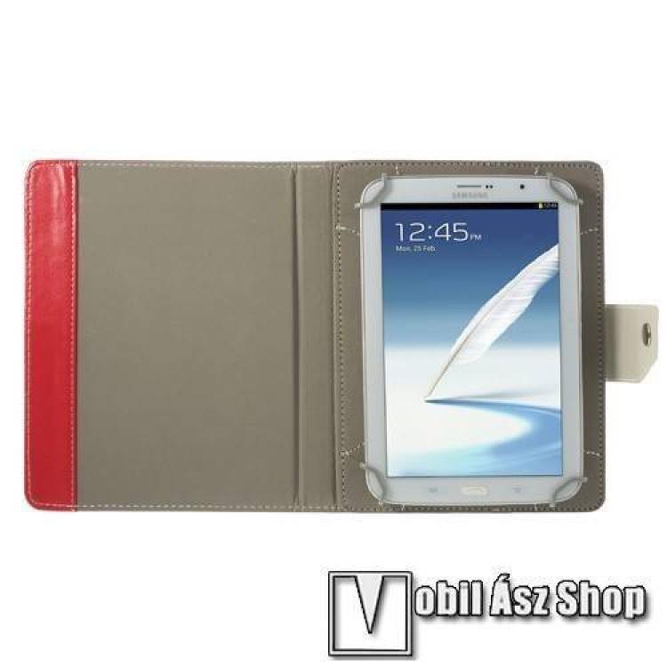 UNIVERZÁLIS notesz / mappa tablet PC tok - PIROS - álló, bőr, mágneses, asztali tartó funkciós, 8